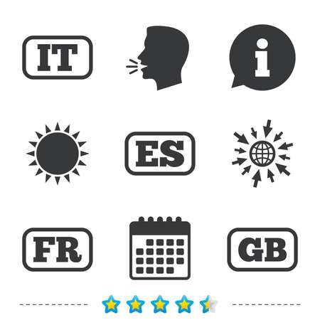 Language icons. IT, ES, FR and GB translation symbols. Italy, Spain, France and England languages. Information, go to web and calendar icons. Sun and loud speak symbol. Vector