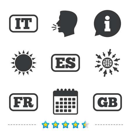 Taalpictogrammen. IT, ES, FR en GB-vertaalsymbolen. Talen van Italië, Spanje, Frankrijk en Engeland. Informatie, ga naar web- en kalenderpictogrammen. Zon en luid spreken symbool. Vector