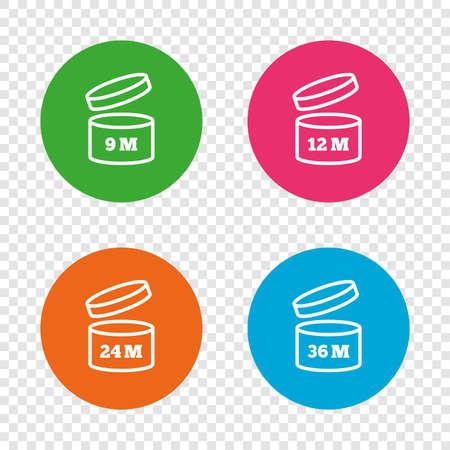 開封後のアイコンを使用します。製品の 9-36 ヶ月有効期限では、シンボルを署名します。食料品項目の貯蔵寿命。透明の背景上の丸いボタン。ベク