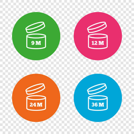 before: After opening use icons. Expiration date 9-36 months of product signs symbols. Shelf life of grocery item. Round buttons on transparent background. Vector