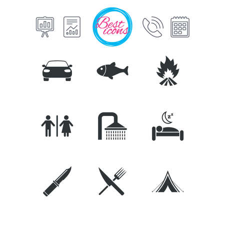 Presentation, report and calendar signs. Hiking travel icons. Camping, shower and wc toilet signs. Tourist tent, fork and knife symbols. Classic simple flat web icons. Vector Illustration