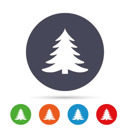 winter tree: Christmas tree sign icon. Holidays button. Round colourful buttons with flat icons. Vector