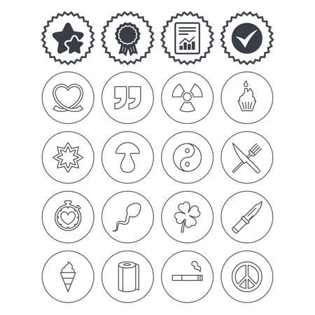 Report, check tick and award signs. Universal icons. Quotes, ribbon heart and cake. Clover, mushroom and ice cream. Smoking, knife and fork. Best quality star symbol. Flat buttons. Vector