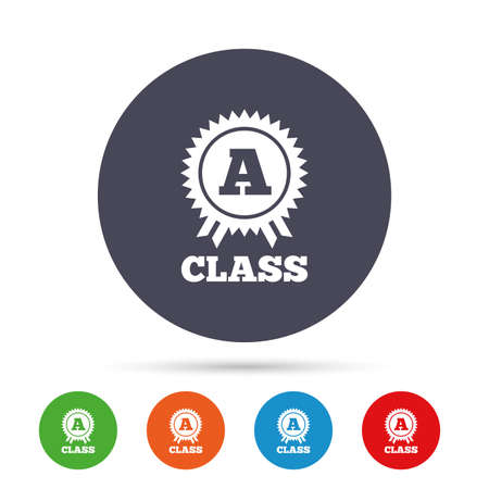 A-class award icon. Premium level symbol. Energy efficiency sign. Round colourful buttons with flat icons. Vector