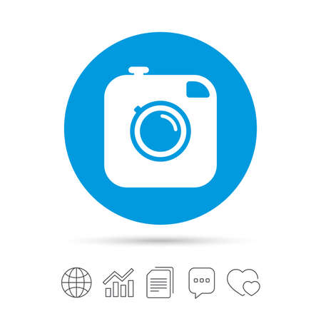 Hipster photo camera sign icon. Retro camera symbol. Copy files, chat speech bubble and chart web icons. Vector