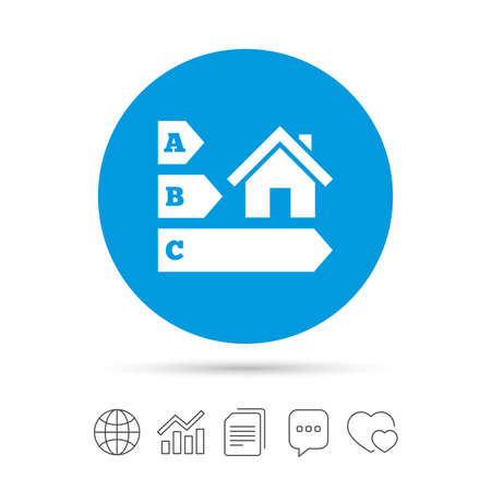 Energy efficiency sign icon. House building symbol. Copy files, chat speech bubble and chart web icons. Vector