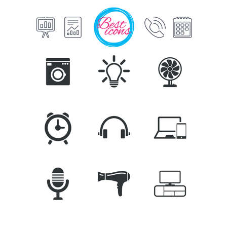 Presentation, report and calendar signs. Home appliances, device icons. Ventilator sign. Hairdryer, washing machine and lamp symbols. Classic simple flat web icons. Vector Ilustrace