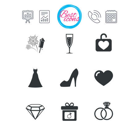 wedding dress: Presentation, report and calendar signs. Wedding, engagement icons. Locker with heart, gift box and fireworks signs. Dress, heart and champagne glass symbols. Classic simple flat web icons. Vector Illustration