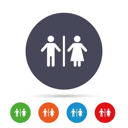 WC 기호 아이콘입니다. 화장실 기호입니다. 남성과 여성 화장실입니다. 플랫 아이콘 라운드 다채로운 단추입니다. 벡터 일러스트