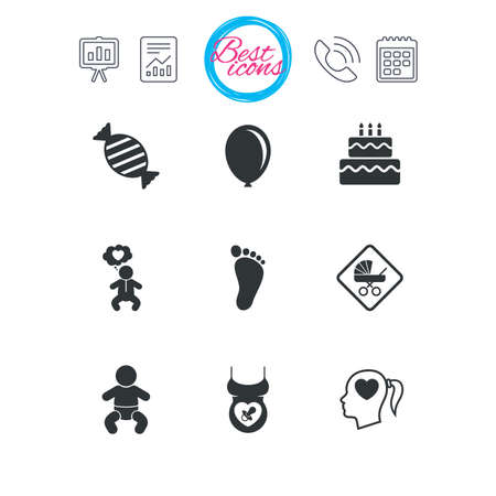 Presentation, report and calendar signs. Pregnancy, maternity and baby care icons. Candy, strollers and pacifier signs. Footprint, birthday cake and heart symbols. Classic simple flat web icons Illustration