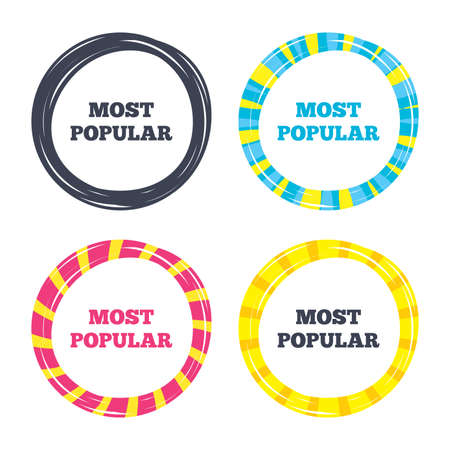 Most popular sign icon. Bestseller symbol. Colored buttons with icons. Poker chip concept. Vector