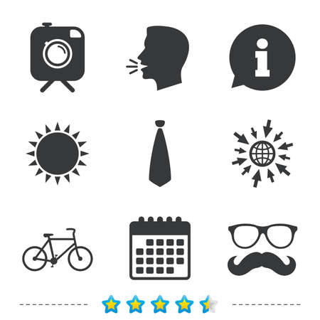 Hipster photo camera with mustache icon. Glasses and tie symbols. Bicycle family vehicle sign. Information, go to web and calendar icons. Sun and loud speak symbol. Vector Illustration