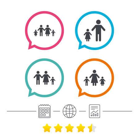 Family with two children icon. Parents and kids symbols. One-parent family signs. Mother and father divorce. Calendar, internet globe and report linear icons. Star vote ranking. Vector