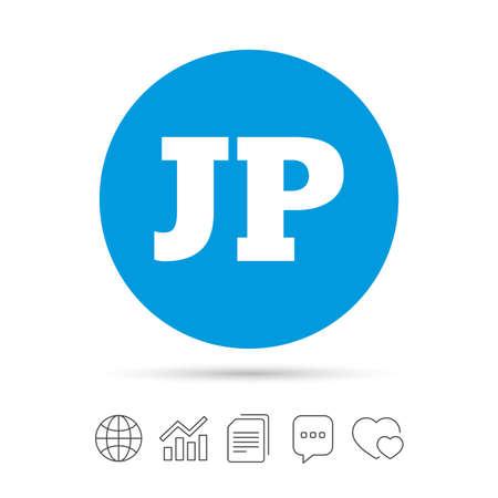 Japanse taal teken pictogram. JP Japan-vertaalsymbool. Kopieer bestanden, praat tekstballonnen en grafiek web iconen. Vector