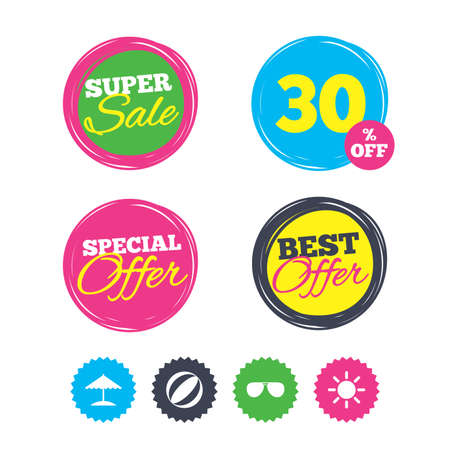 Super sale and best offer stickers. Beach holidays icons. Ball, umbrella and sunglasses signs. Summer sun symbol. Shopping labels. Vector Illustration