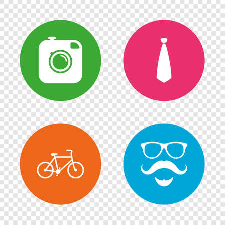Hipster photo camera. Mustache with beard icon. Glasses and tie symbols. Bicycle sign. Round buttons on transparent background. Vector Illustration