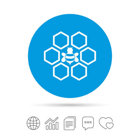Honeycomb with bee sign icon. Honey cells symbol. Sweet natural food. Copy files, chat speech bubble and chart web icons. Vector Illustration