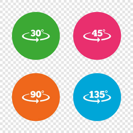 Angle 30-135 degrees icons. Geometry math signs symbols. Full complete rotation arrow. Round buttons on transparent background. Vector Illustration