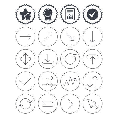 Report, check tick and award signs. Arrows line icons. Download, upload, check or tick symbols. Refresh, fullscreen and shuffle thin outline signs. Best quality star symbol. Flat buttons. Vector