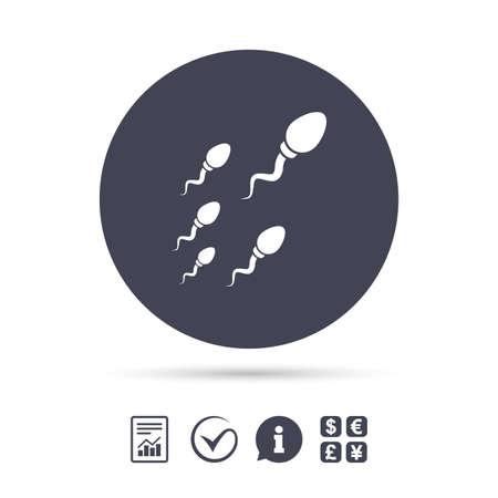 Sperma Zeichen Symbol. Befruchtungs- oder Besamungssymbol. Rennen. Dokumente, Informationen und Häkchen anzeigen. Geldwechsel. Vektor