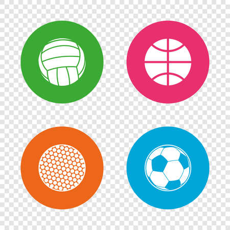 translucent: Sport balls icons. Volleyball, Basketball, Soccer and Golf signs. Team sport games. Round buttons on transparent background. Vector Illustration