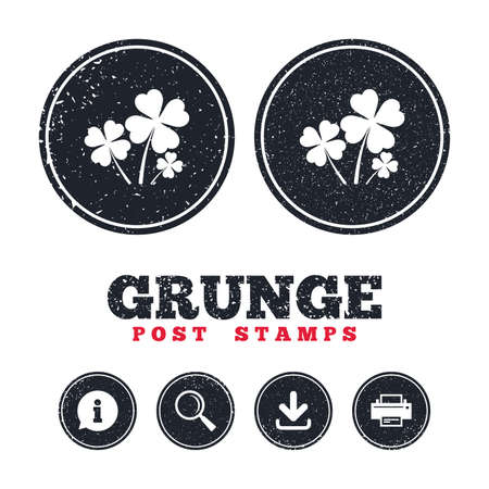 Grunge post stamps. Clovers with four leaves sign icon. Saint Patrick symbol. Information, download and printer signs. Aged texture web buttons. Vector