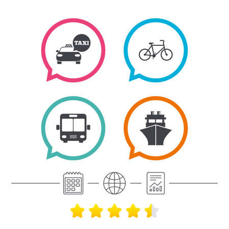 Transport icons. Taxi car, Bicycle, Public bus and Ship signs. Shipping delivery symbol. Speech bubble sign. Calendar, internet globe and report linear icons. Star vote ranking. Vector