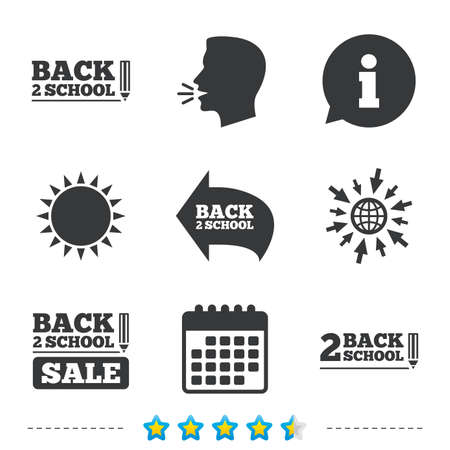 special education: Back to school sale icons. Studies after the holidays signs. Pencil symbol. Information, go to web and calendar icons. Sun and loud speak symbol. Vector