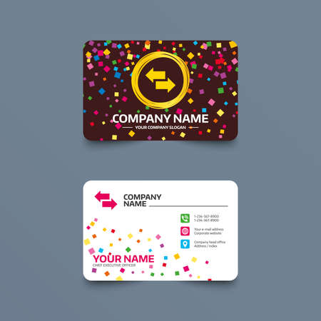 outgoing: Business card template with confetti pieces. Incoming and outgoing calls sign. Upload. Download arrow symbol. Phone, web and location icons. Visiting card  Vector