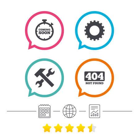Demnächst Symbol. Reparieren Sie Servicewerkzeug- und Zahnradsymbole. Hammer mit Schraubenschlüssel. 404 Nicht gefunden. Kalender, Internet Globus und Bericht lineare Symbole. Star-Votum-Ranking. Vektor Standard-Bild - 76311899