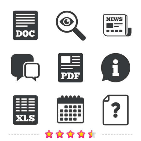 File document and question icons. XLS, PDF and DOC file symbols. Download or save doc signs. Newspaper, information and calendar icons. Investigate magnifier, chat symbol. Vector