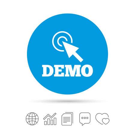 Demo met cursortekenpictogram. Demonstratiesymbool. Kopieer bestanden, praat tekstballonnen en grafiek web iconen. Vector