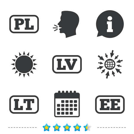 Language icons. PL, LV, LT and EE translation symbols. Poland, Latvia, Lithuania and Estonia languages. Information, go to web and calendar icons. Sun and loud speak symbol. Vector