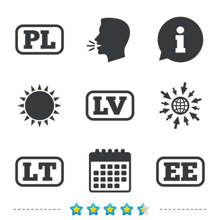 Taalpictogrammen. PL-, LV-, LT- en EE-vertaalsymbolen. Polen, Letland, Litouwen en Estland. Informatie, ga naar web- en kalenderpictogrammen. Zon en luid spreken symbool. Vector