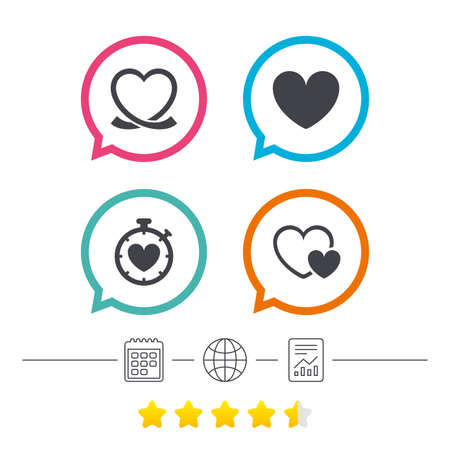 Heart ribbon icon. Timer stopwatch symbol. Love and Heartbeat palpitation signs. Calendar, internet globe and report linear icons. Star vote ranking. Vector Ilustração