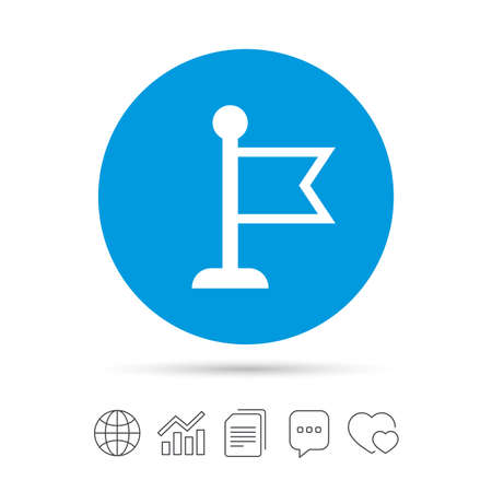 Flag pointer sign icon. Location marker symbol. Copy files, chat speech bubble and chart web icons. Vector Illustration