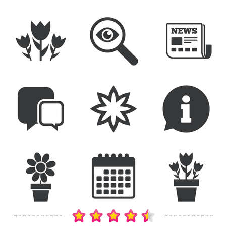 calendar icon: Flowers icons. Bouquet of roses symbol. Flower with petals and leaves in a pot. Newspaper, information and calendar icons. Investigate magnifier, chat symbol. Vector