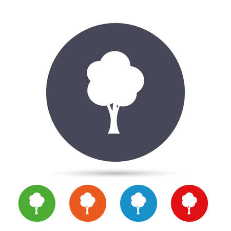 Tree sign icon. Forest symbol. Round colourful buttons with flat icons. Vector
