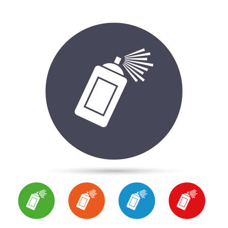 website buttons: Graffiti spray can sign icon. Aerosol paint symbol. Round colourful buttons with flat icons. Vector
