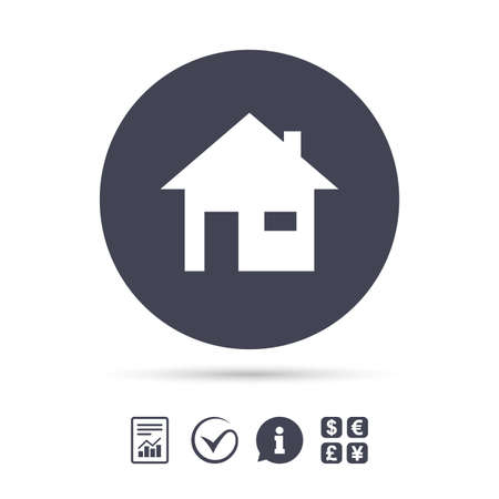 Home sign icon. Main page button. Navigation symbol. Report document, information and check tick icons. Currency exchange. Vector Фото со стока - 76311963