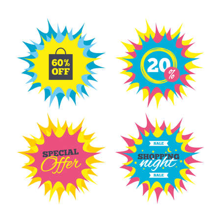 Shopping offers, special offer banners. 60% sale bag tag sign icon. Discount symbol. Special offer label. Discount star label. Vector