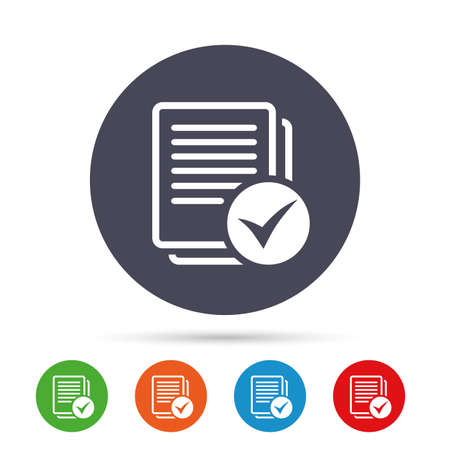 website buttons: Text file sign icon. Check File document symbol. Round colourful buttons with flat icons. Vector Illustration