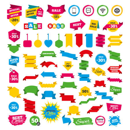 Web banners and labels. Special offer tags. Communication icons. Smartphone and chat speech bubble symbols. Wifi and internet globe signs. Discount stickers. Vector