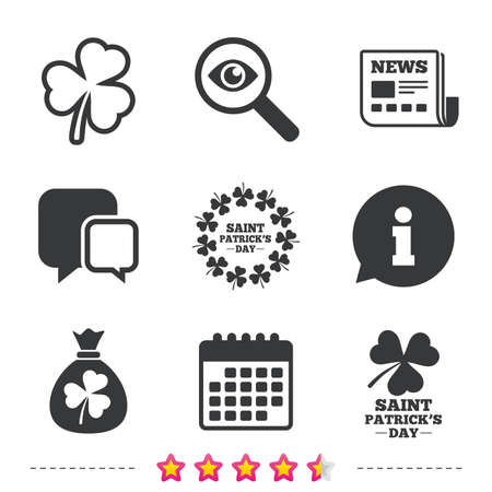 calendar icon: Saint Patrick day icons. Money bag with clover sign. Wreath of trefoil shamrock clovers. Symbol of good luck. Newspaper, information and calendar icons. Investigate magnifier, chat symbol. Vector