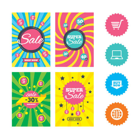 Web banners and sale posters. Online shopping icons. Notebook pc, shopping cart, buy now arrow and internet signs. WWW globe symbol. Special offer and discount tags. Vector Illustration