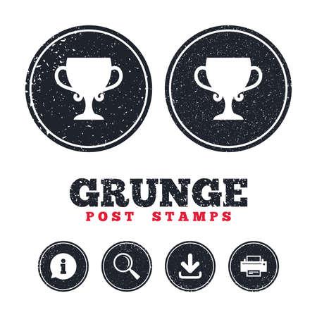 Sellos postales de grunge Icono de signo de copa ganador. Adjudicación del símbolo de los ganadores. Trofeo. Información, descarga y letreros de la impresora. Botones de textura de web envejecido. Vector