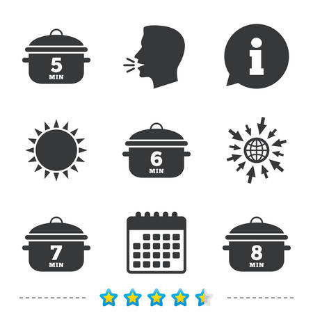 Cooking pan icons. Boil 5, 6, 7 and 8 minutes signs. Stew food symbol. Information, go to web and calendar icons. Sun and loud speak symbol. Vector Illustration