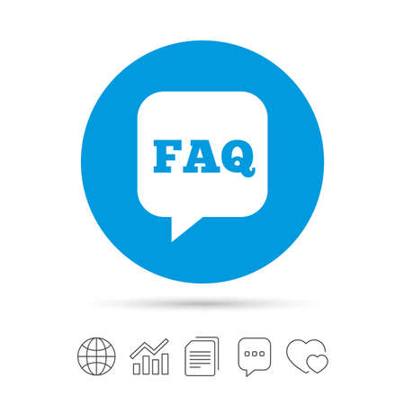 FAQ information sign icon. Help speech bubble symbol. Copy files, chat speech bubble and chart web icons. Vector Ilustrace