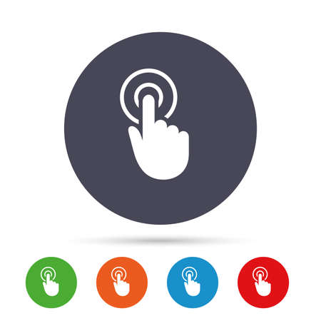 website buttons: Hand cursor sign icon. Hand pointer symbol. Round colourful buttons with flat icons. Vector