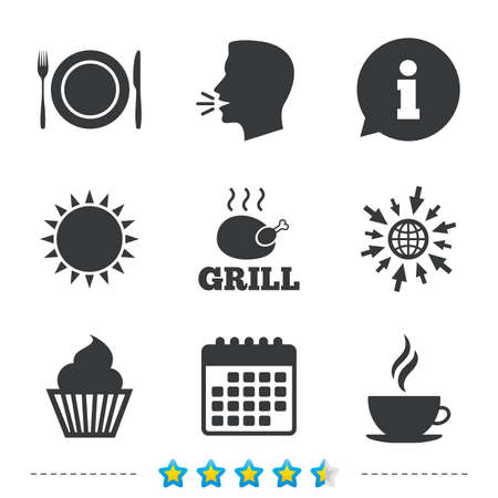 Food and drink icons. Muffin cupcake symbol. Plate dish with fork and knife sign. Hot coffee cup. Information, go to web and calendar icons. Sun and loud speak symbol. Vector Çizim